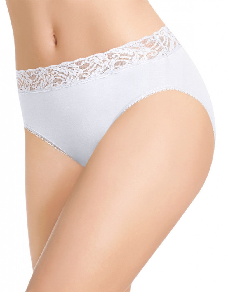 White Front Wacoal Cotton Suede Hi-Cut Brief