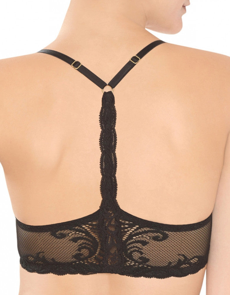Black Front Natori Feathers T-Back Front Close Bra