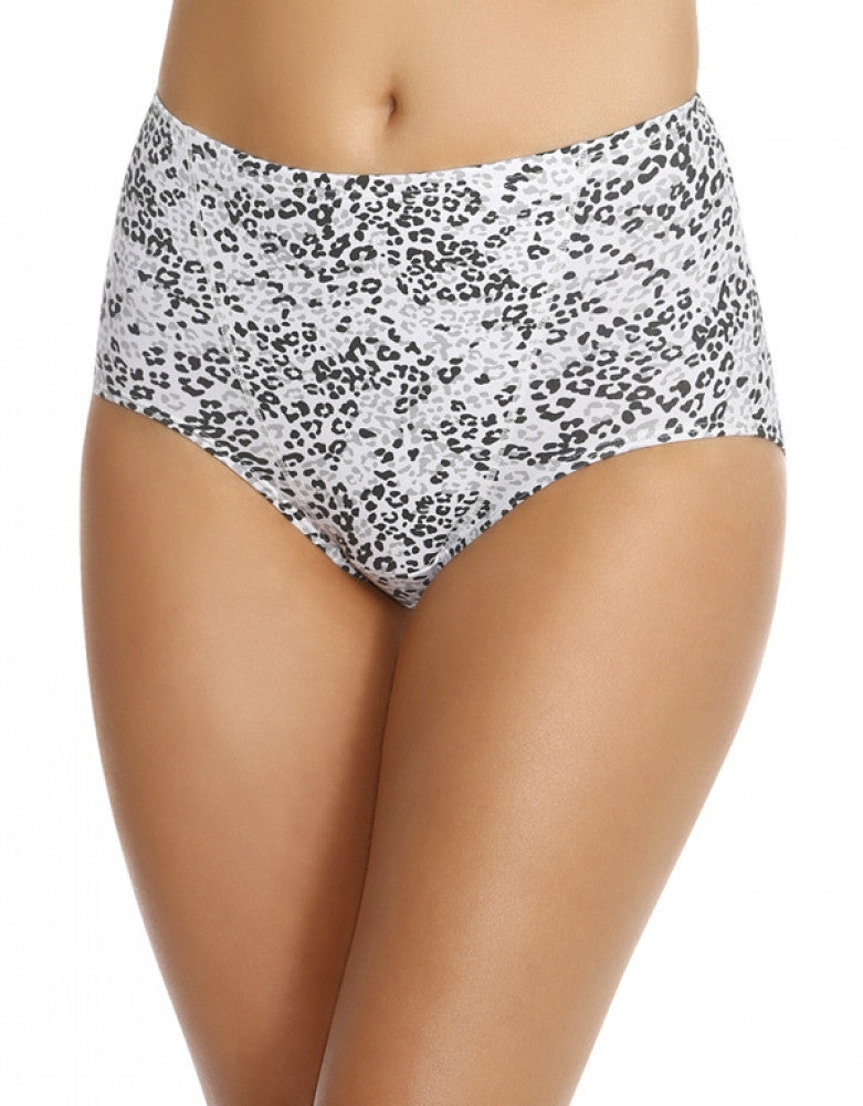 Jet/Grey Leopard Front Bali One Smooth U Tummy Toning Cotton Brief 2-Pack