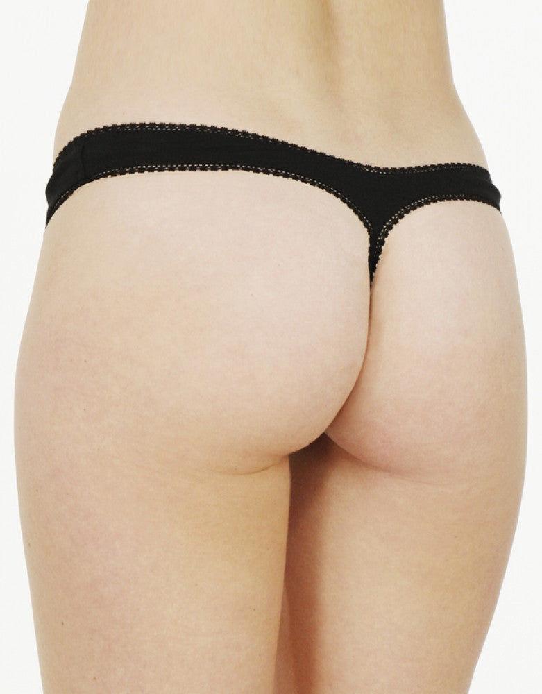 Black Back Cabana Cotton Hip Thong