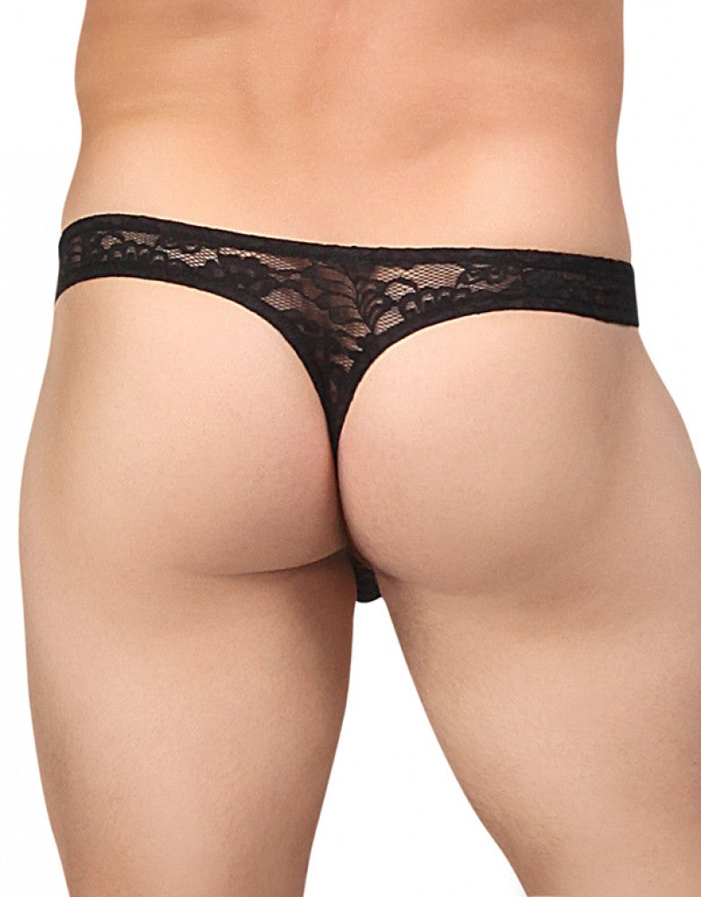 Black Back Male Power Stretch Lace Bong Thong 442-162