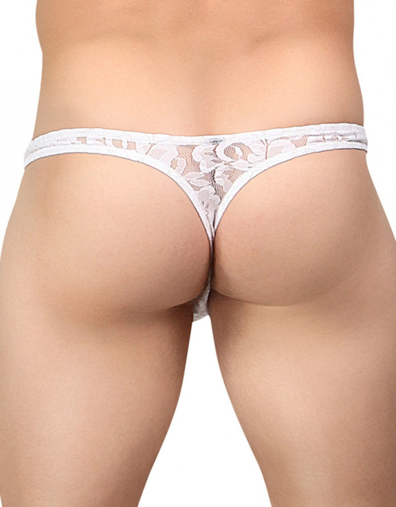 White Back Male Power Stretch Lace Bong Thong 442-162