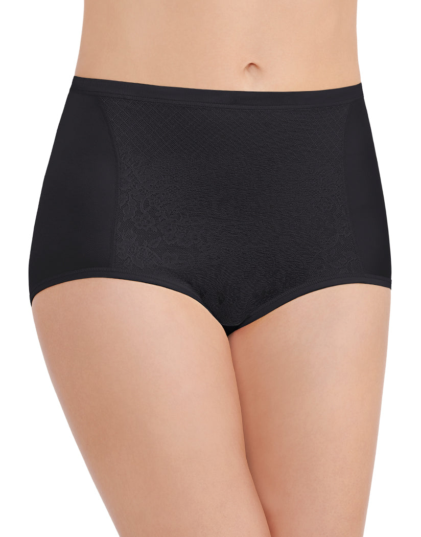 Midnight Black Front Vanity Fair Smoothing Comfort Lace Brief 13262
