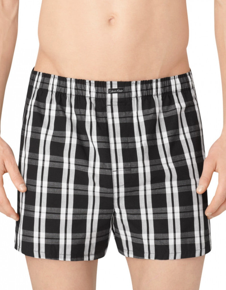 Tide/Morgan Plaid/ Montague Stripe Side Calvin Klein 3-Pack Woven Boxer Shorts