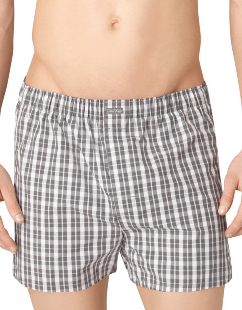 Grey Sky/Glen Plaid/Matthew Stripe Side Calvin Klein 3-Pack Woven Boxer Shorts