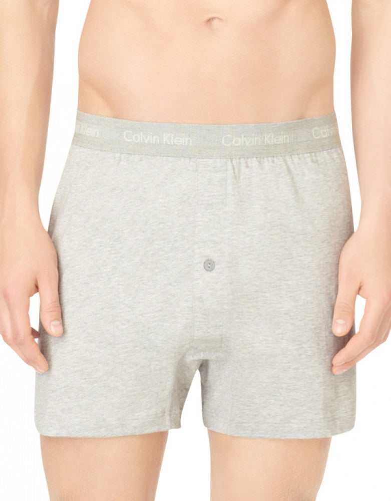 Heather Grey/White/Black Front Calvin Klein 3-Pack Cotton Classic Knit Boxer Shorts