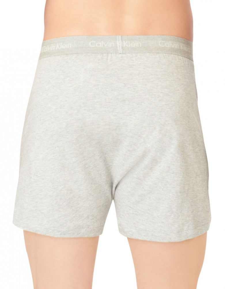 Heather Grey/White/Black Back Calvin Klein 3-Pack Cotton Classic Knit Boxer Short NU3040