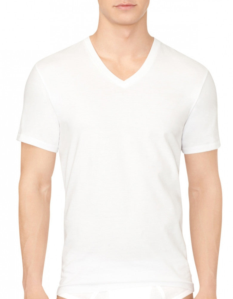 White Back Calvin Klein 3-Pack Cotton Classic V-Neck T-Shirts