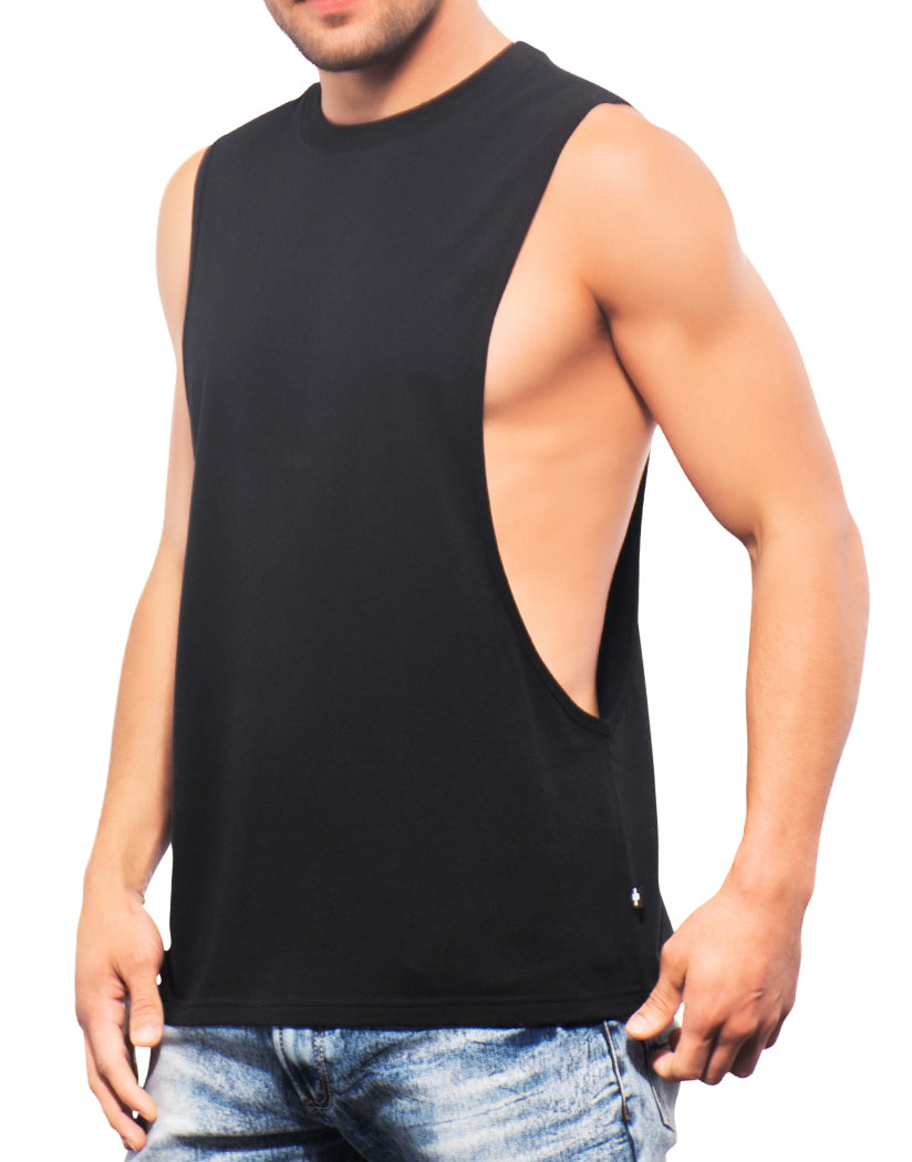 Black Side Andrew Christian Happy Tagless Gym Tank Black 2679