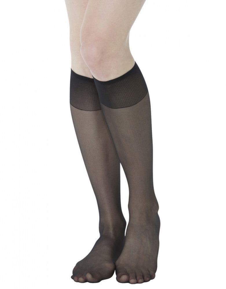 Jet Front Hanes Hosiery Silk Reflections 2-Pack Silky Sheer Sandalfoot Knee High 725