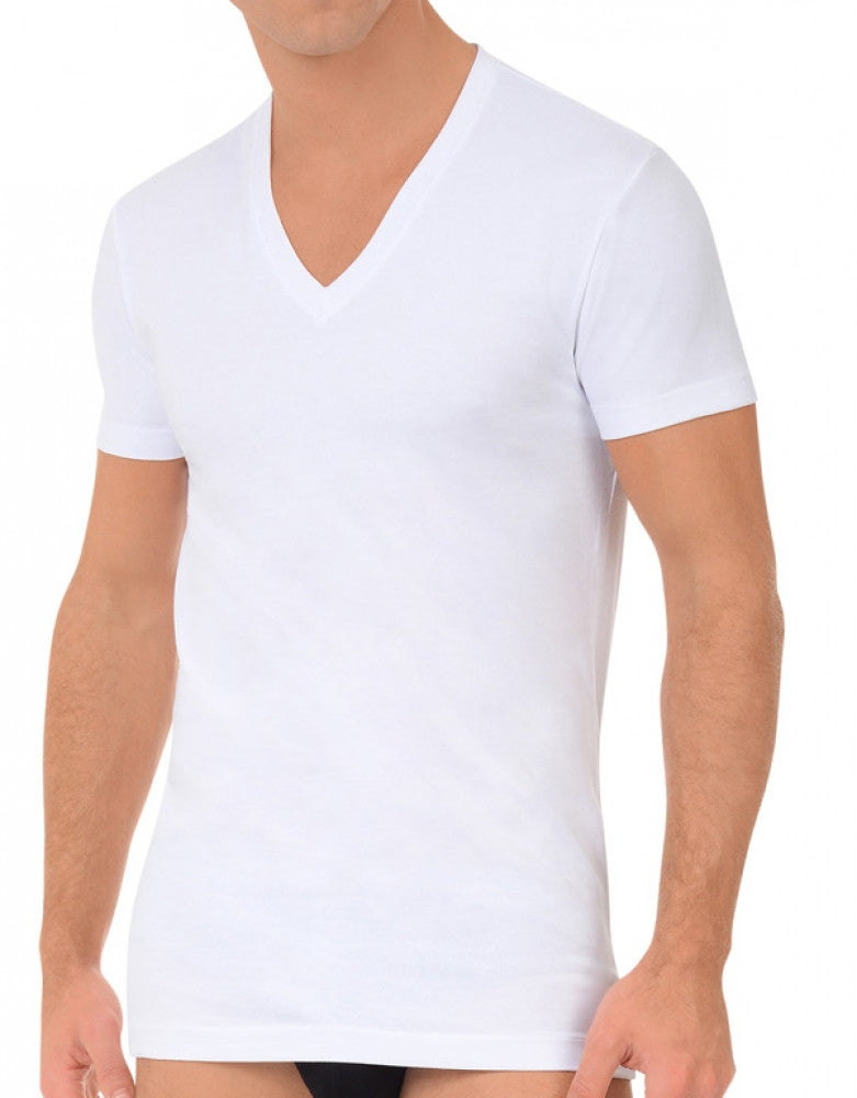 White Front 2xist 2-Pack Stretch Core V-Neck T-Shirts