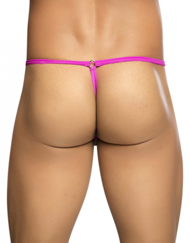 Hot Pink Back Malebasics Tear Drop G-String