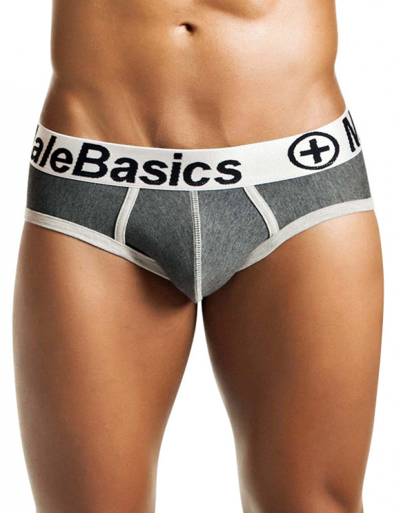 Asphalt Front Malebasics Cotton Fitted Contrast Brief