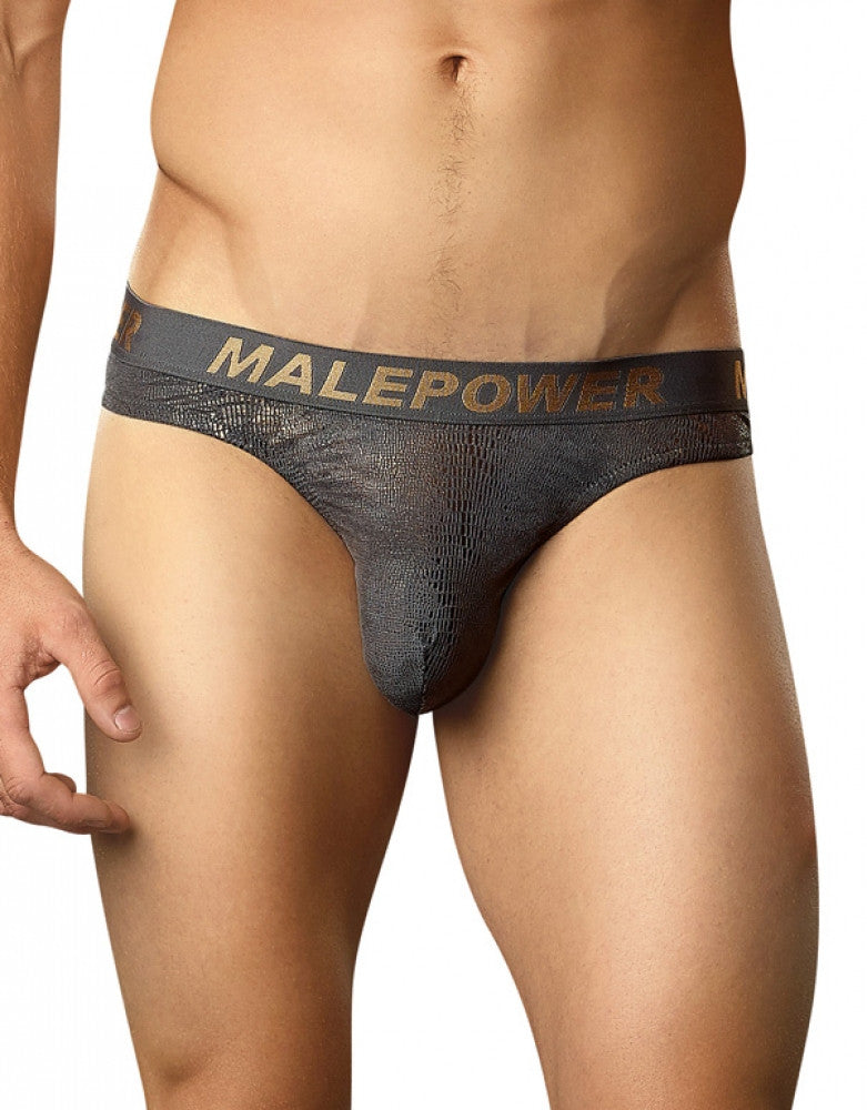 Reptilian Foil Front Male Power Croc Foil Low Rise Thong