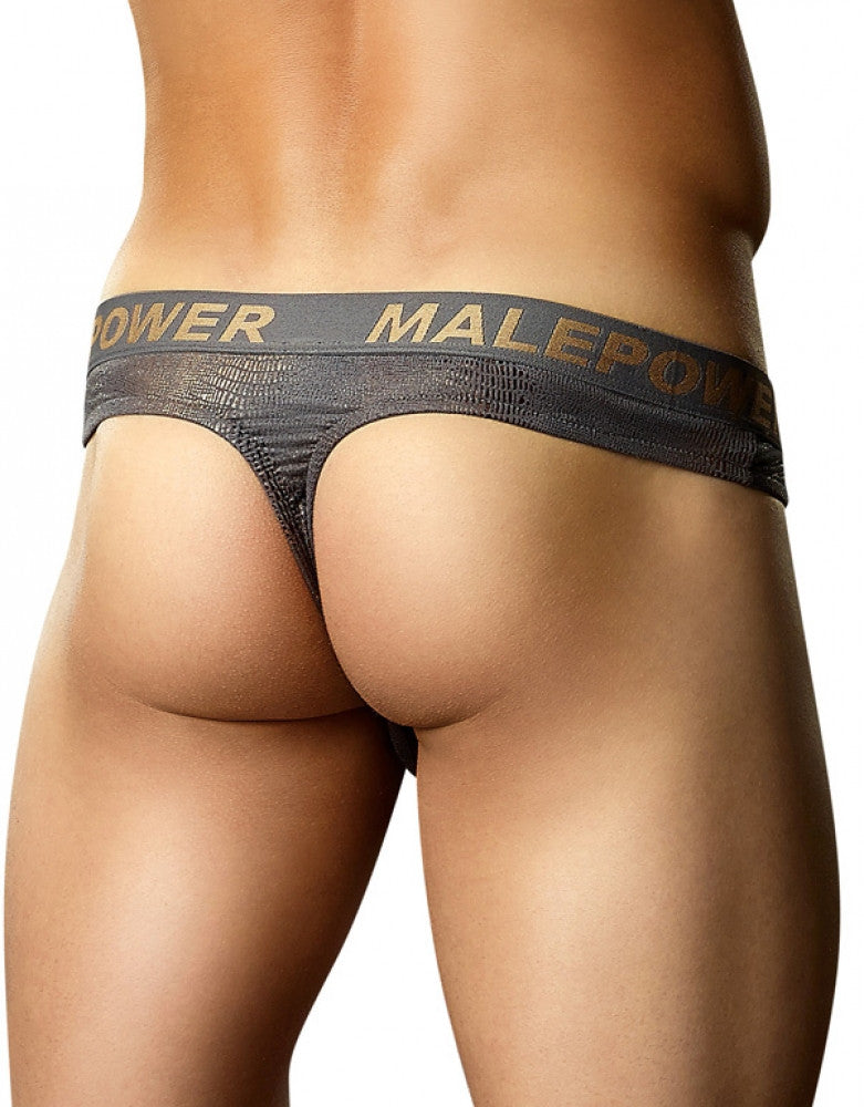 Reptilian Foil Back Male Power Croc Foil Low Rise Thong