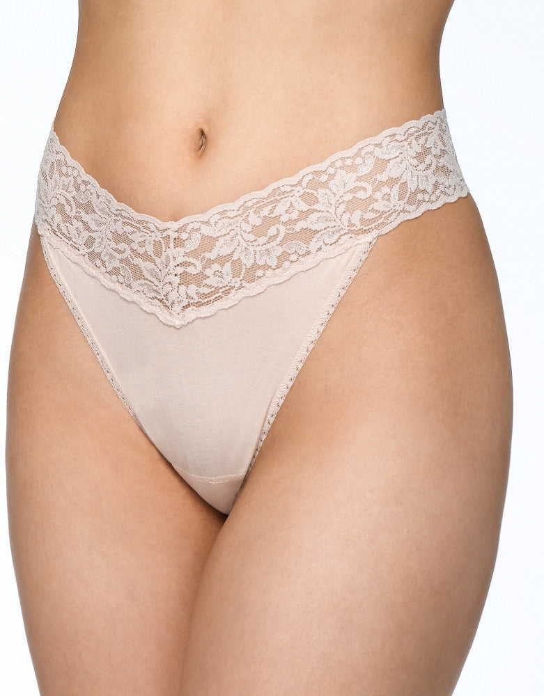 Black/White/Chai Front Hanky Panky 3-PACK Cotton with a Conscience Original Rise Thong