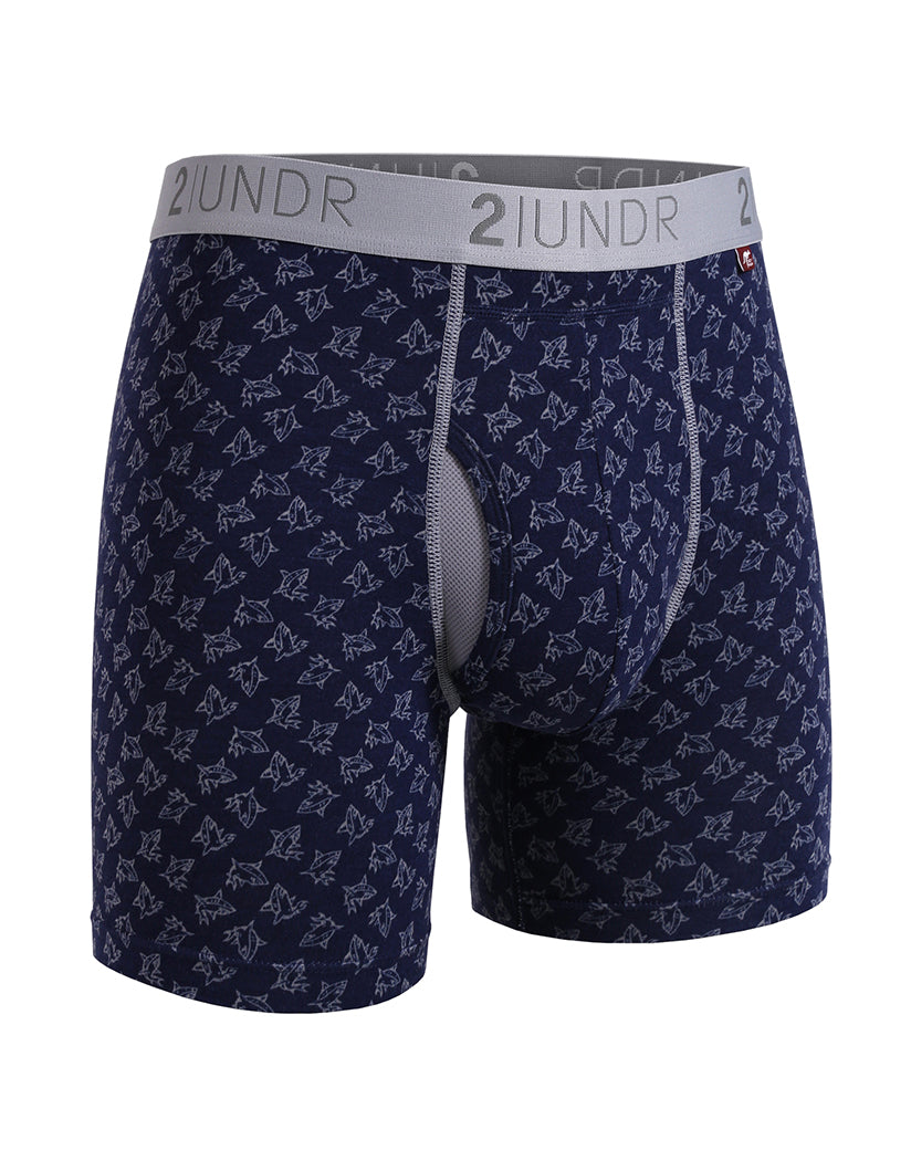 Grey/Blue-Sharks Front 2UNDR 2-Pack Swing Shift Boxer Brief Underwear Grey/ Blue Sharks 2U012B