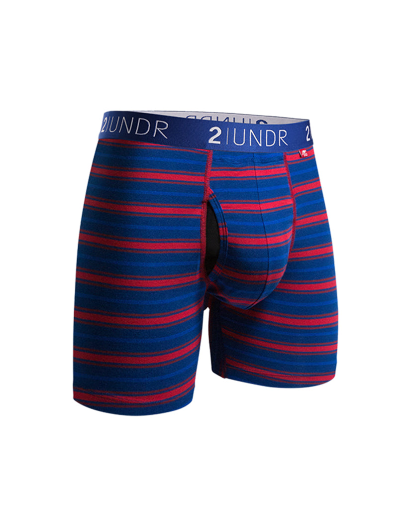Navy/Red Stripes Front 2UNDR Swing Shift Boxer Brief Navy/Red Stripes