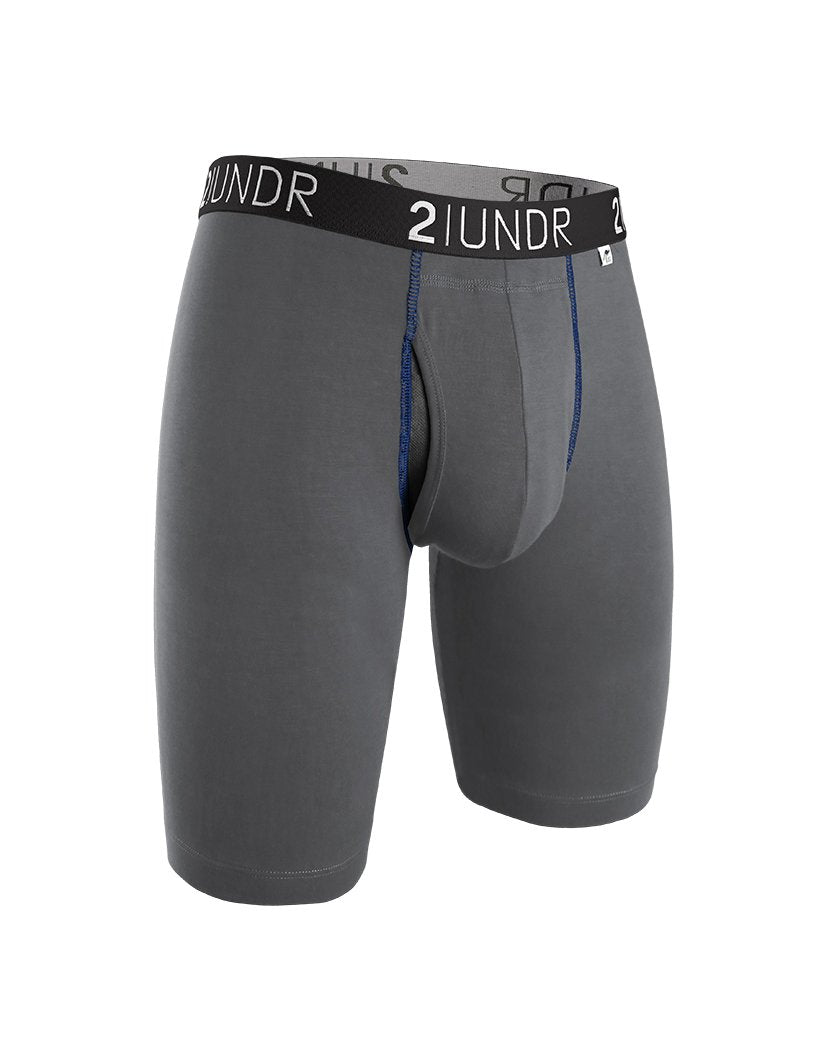 Grey/Blue Front 2UNDR Swing Shift Long Legs Solids Boxer Brief 2U01LL
