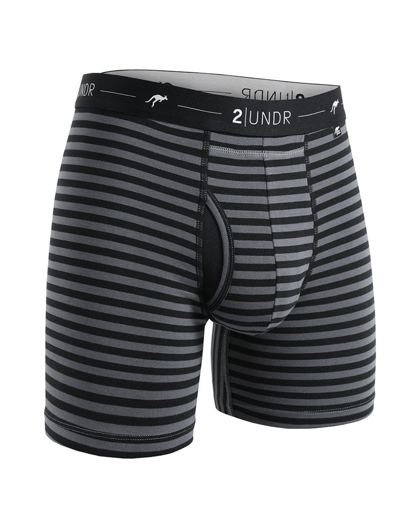 Black/ Grey Stripes Front 2UNDR Day Shift Boxer Briefs Stripes 2U13BB