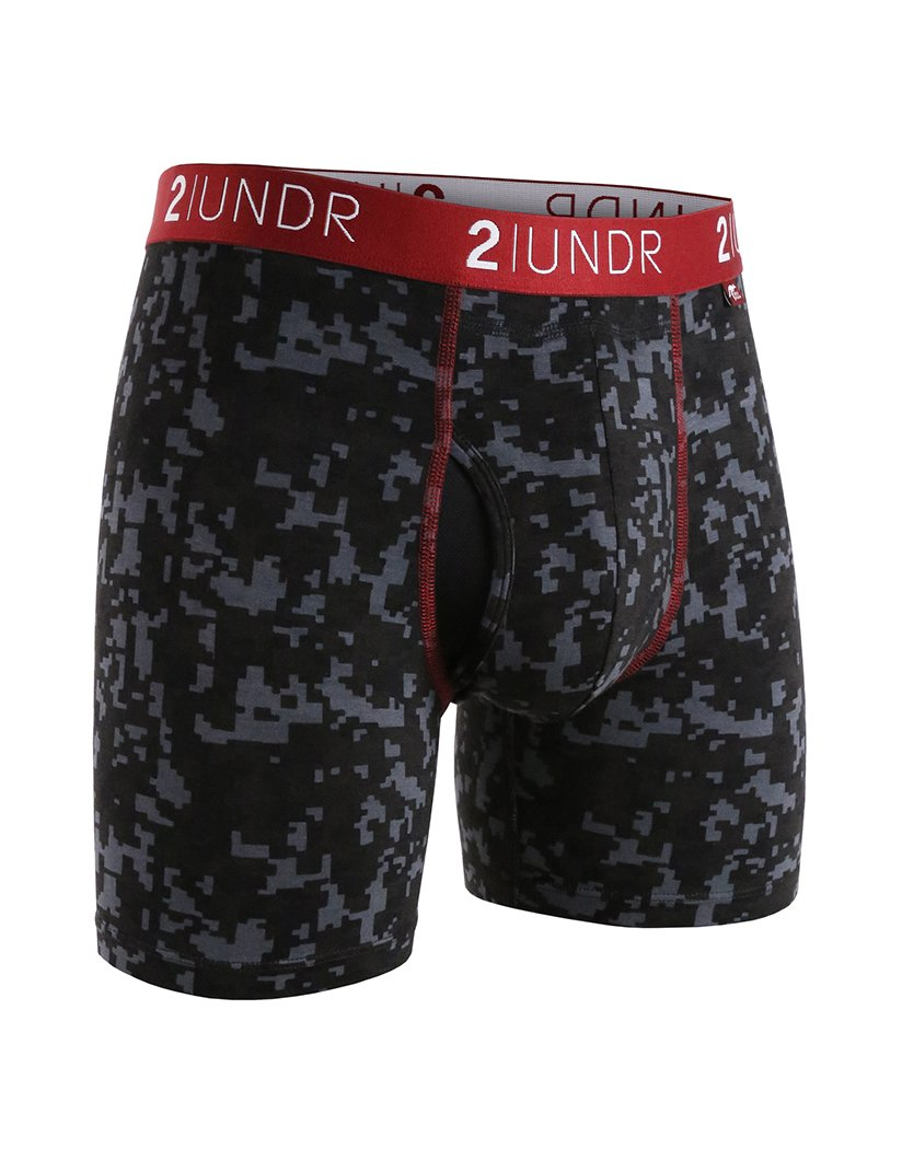 Grey/Digi Print Front 2UNDR Men's 2 Pack Swing Shift Boxer Brief Grey/Digi Print 2U012B
