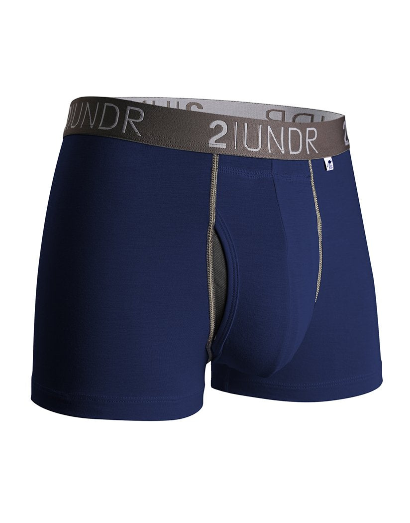 navy blue trunk underwear with fly for men