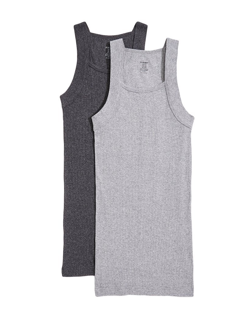Charcoal Heather/Grey Heather Front 2xist Men's 2-Pack Essential Range Square Cut Tank Tops 020227