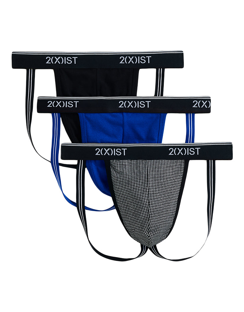 2xist 3-Pack Stretch Cotton Jockstrap Micro Grid Print/Black/Royal L 603679358542
