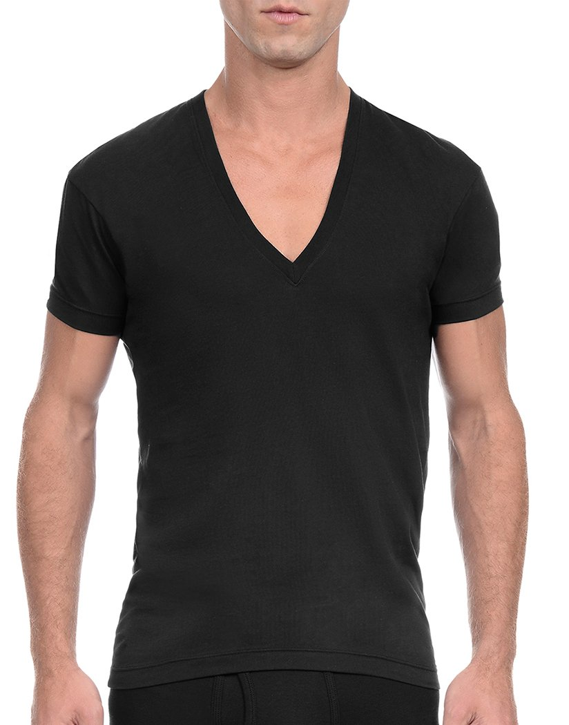Black Front 2xist Pima Slim Fit Deep V-Neck