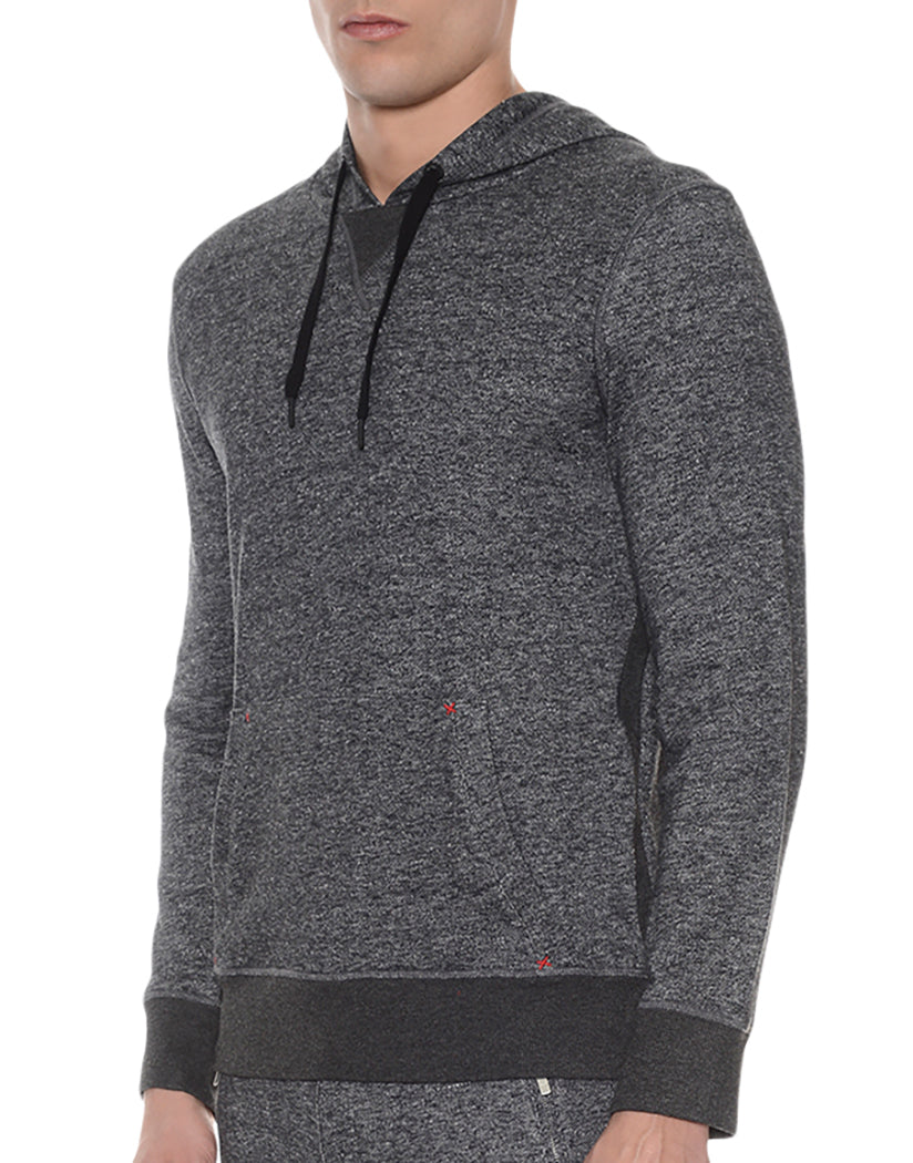 Black Heather Side Hooded Pull Over