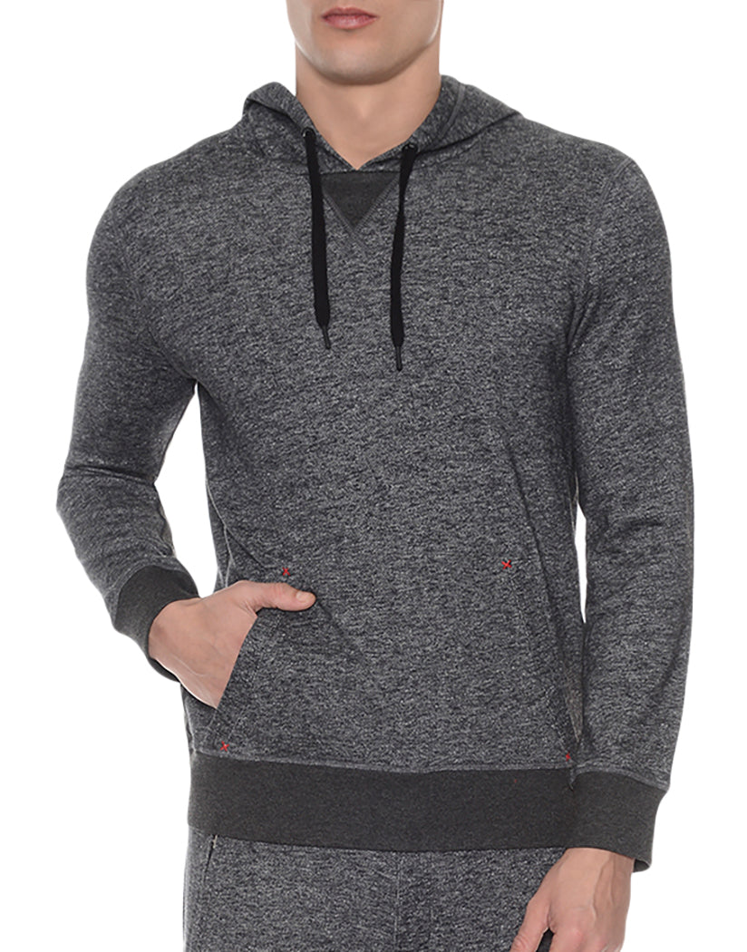 Black Heather Front Hooded Pull Over