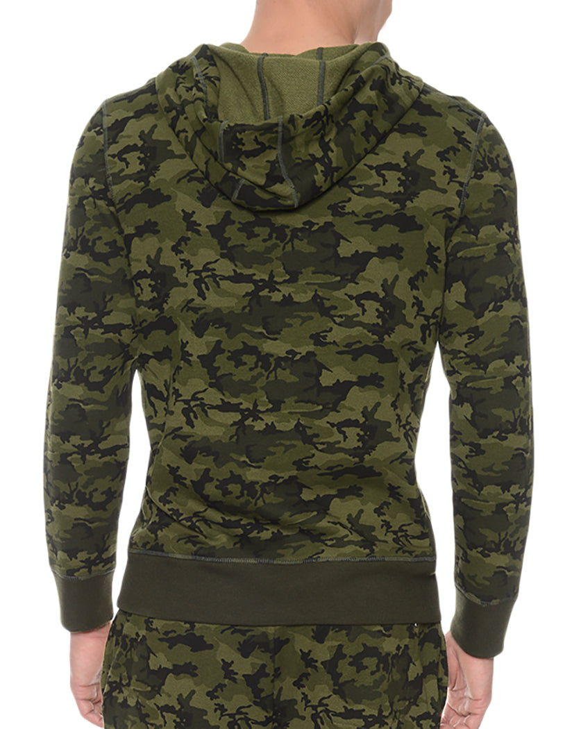 Olive Camo Back Hooded Pull Over
