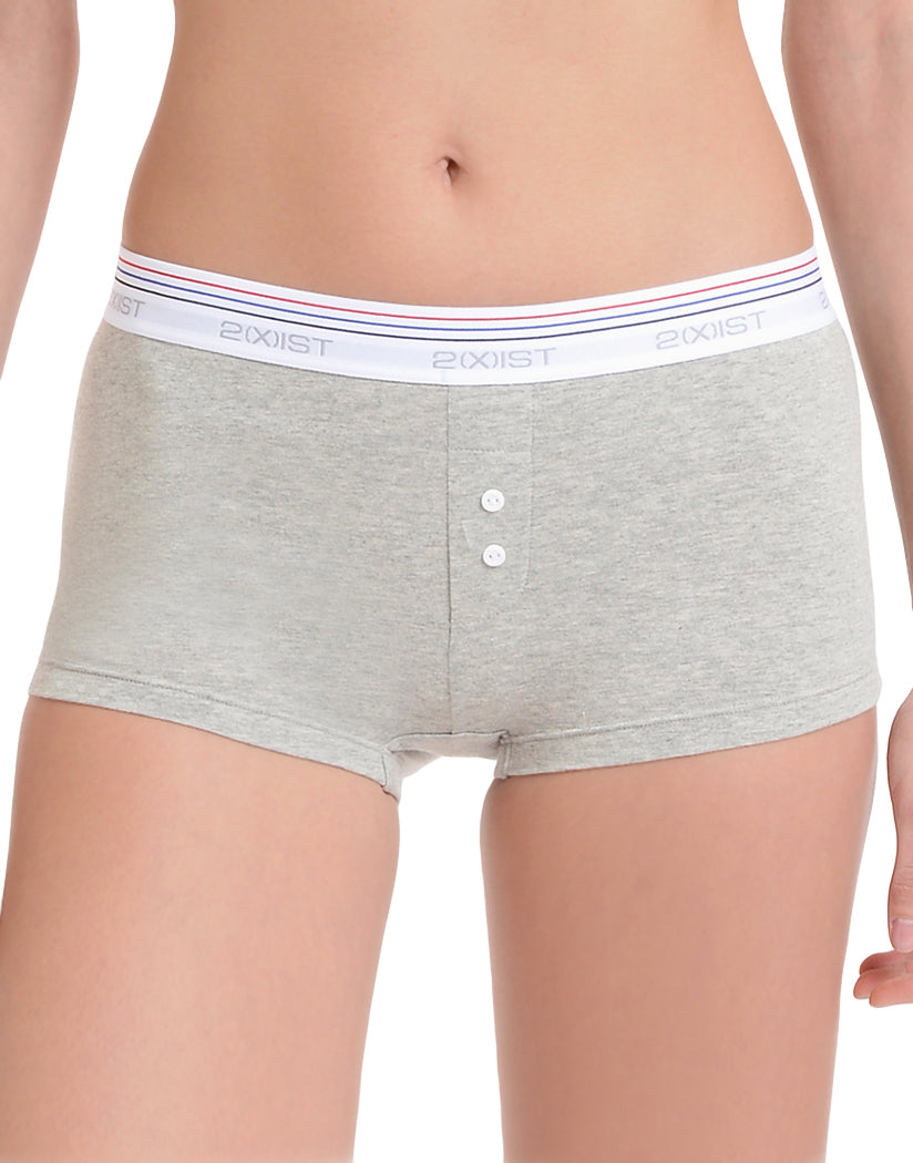 2xist Women Retro Cotton Boy Leg Short Light Heather Grey XS 603679256305