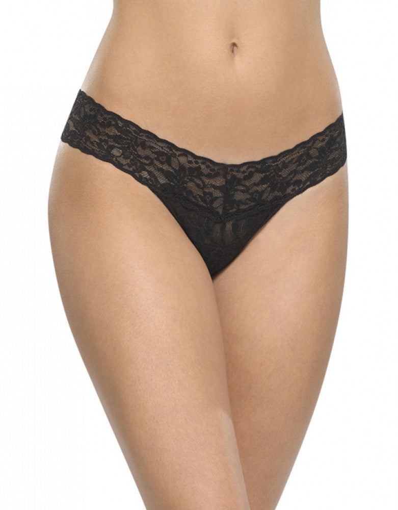 Black Front Hanky Panky Stretch Signature Lace Low Rise Thong