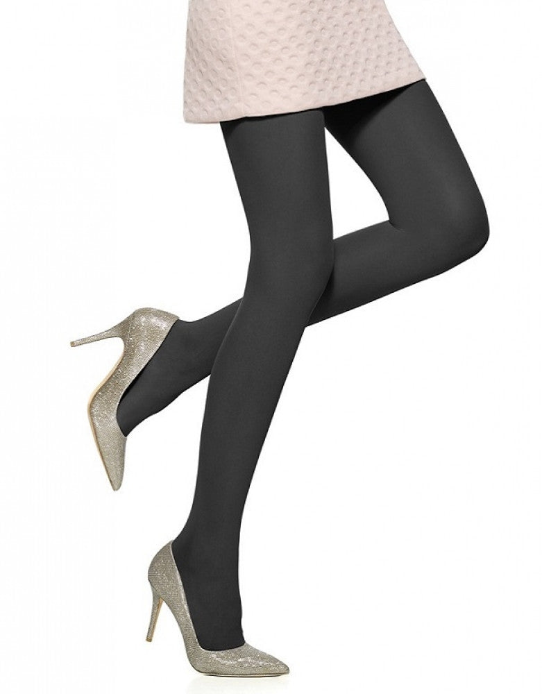 Black Front HUE Supersoft Semi Sheer Control Top Tights U11231