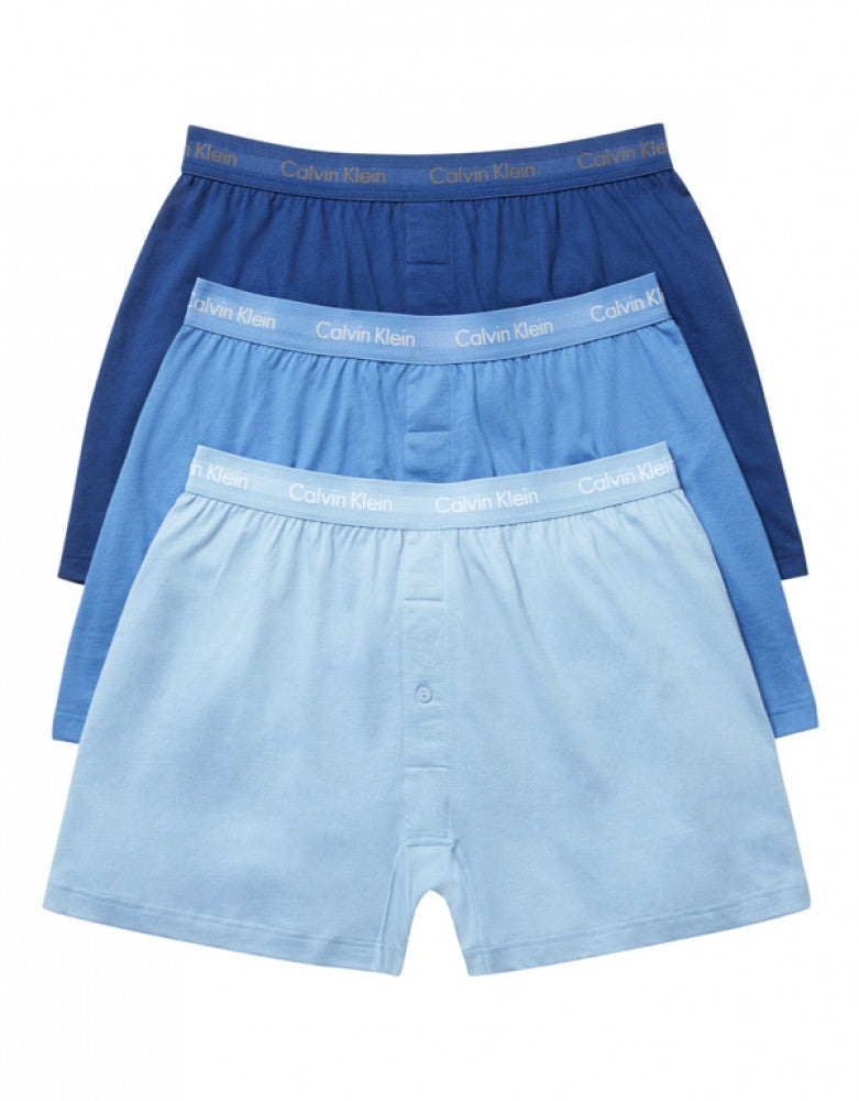 Blue Assorted Front Calvin Klein 3-Pack Cotton Classic Knit Boxer Shorts