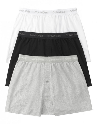 White Assorted Front Calvin Klein 3-Pack Cotton Classic Knit Boxer Shorts