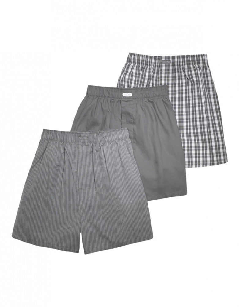 Grey Sky/Glen Plaid/Matthew Stripe Front Calvin Klein 3-Pack Woven Boxer Shorts