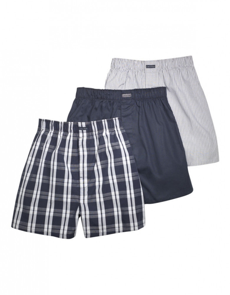 Tide/Morgan Plaid/ Montague Stripe Front Calvin Klein 3-Pack Woven Boxer Shorts