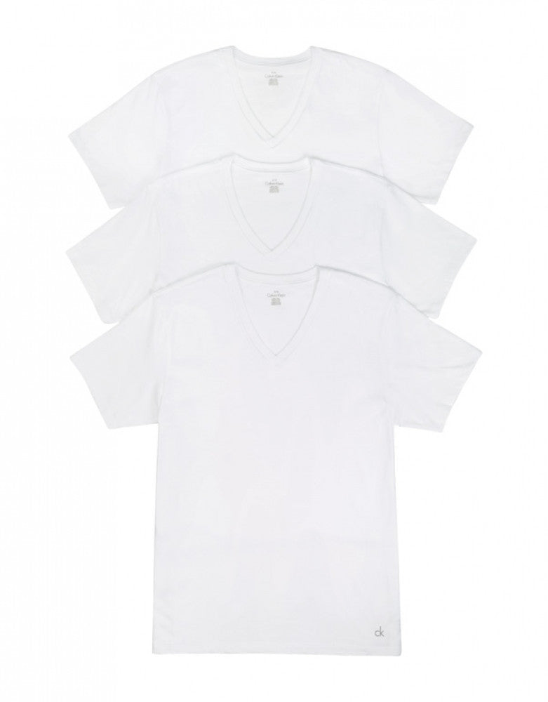 White Front Calvin Klein 3-Pack Cotton Classic V-Neck T-Shirts