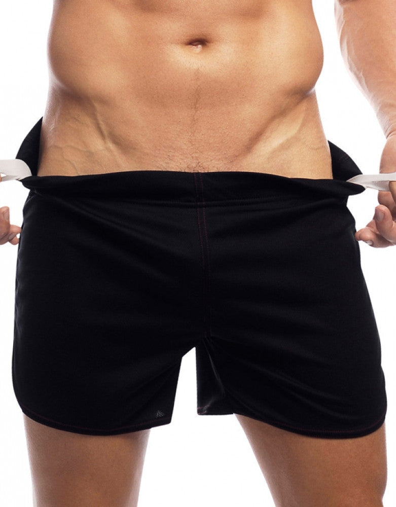 Black Front Go Softwear Gym Shorts with Built-In Jock