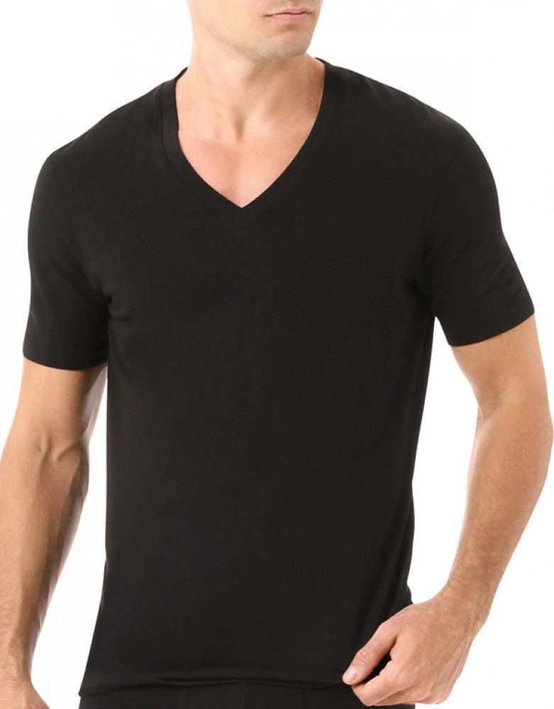 Black Front Naked Signature Modal Cotton V-Neck T-Shirt