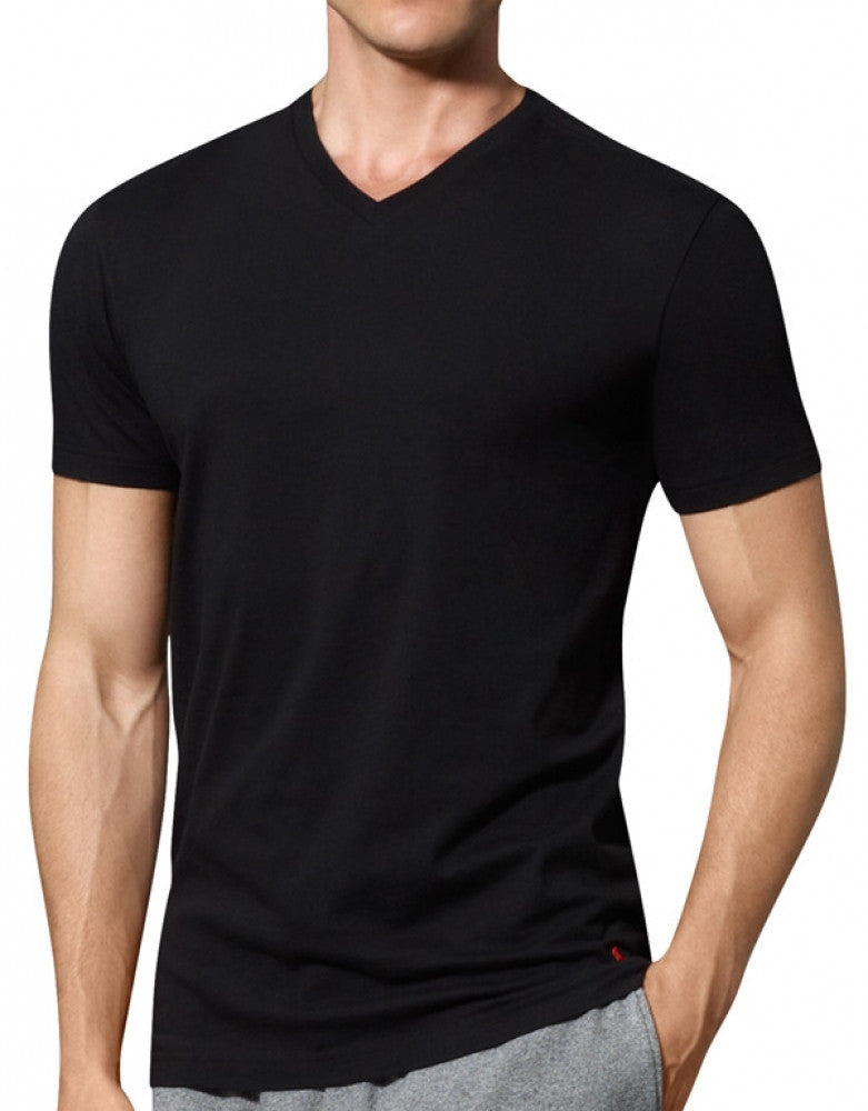 Black Front Polo Ralph Lauren 3-Pack Slim Fit Cotton V-Neck T-Shirts