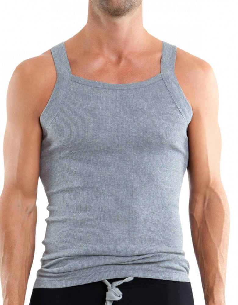 4ad48604f178a0 Black Charcoal Heather Front Papi 3-Pack Essentials Square Neck Tank Tops