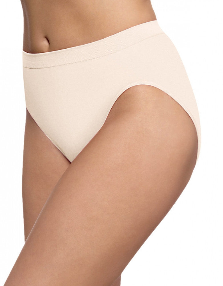 Light Beige Front Bali Barely There Comfort Revolution Microfiber High Cut Brief