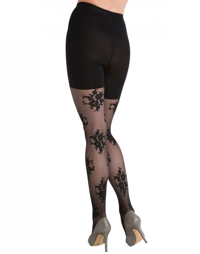 Black Back ASSETS Red Hot Label Floral Control Top Tights