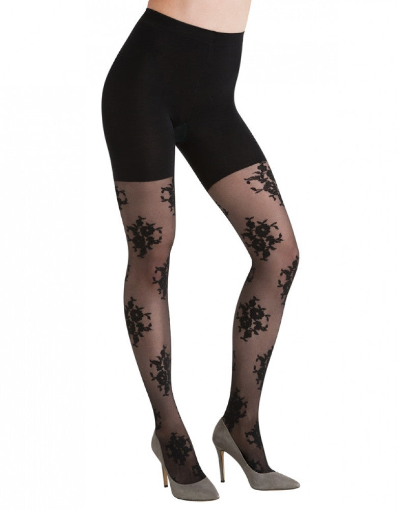 Black Front ASSETS Red Hot Label Floral Control Top Tights