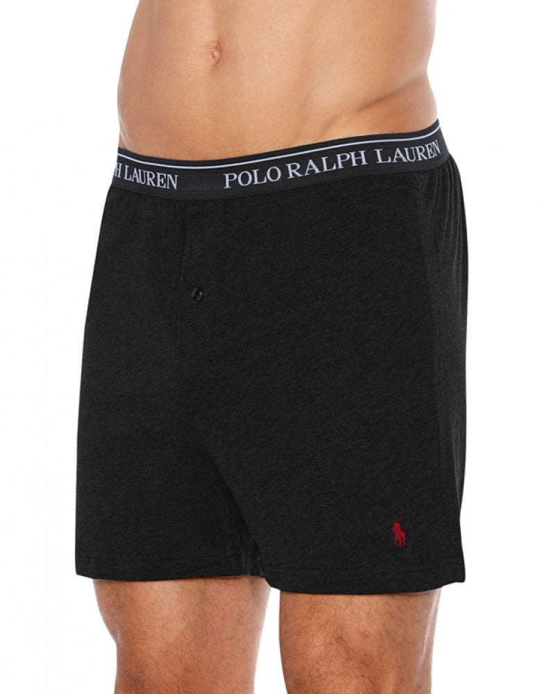 Black Front Polo Ralph Lauren 3-Pack Classic Cotton Knit Boxer Shorts