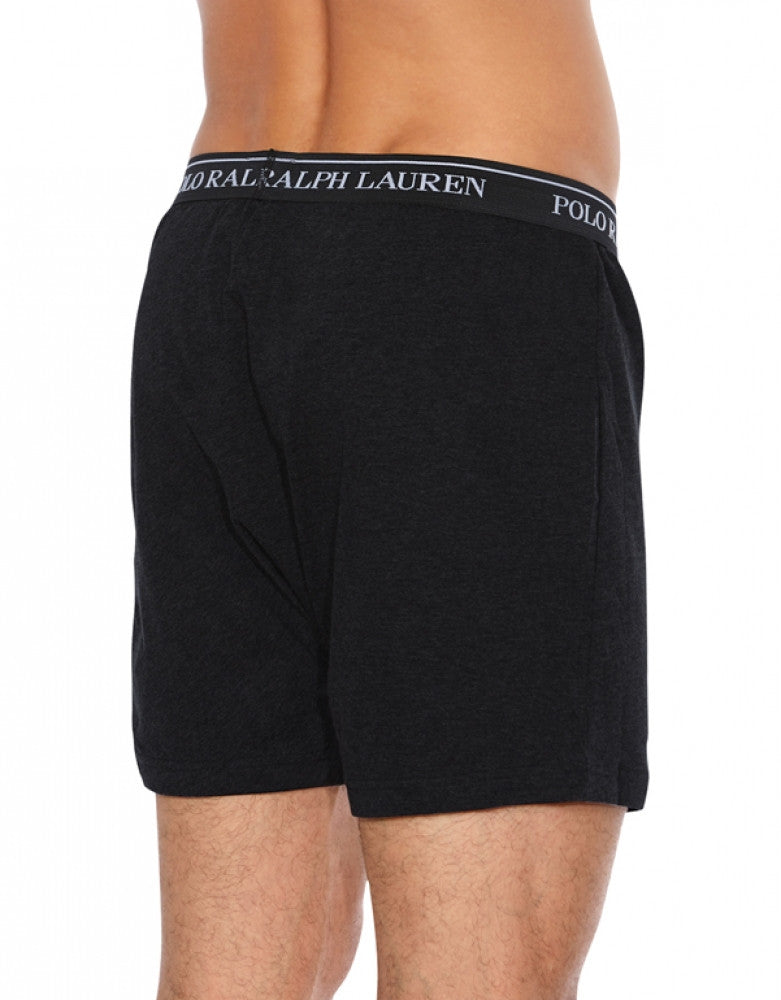 Black/Grey/Charcoal BackPolo Ralph Lauren 3-Pack Classic Cotton Knit Boxer Shorts RCKBP3