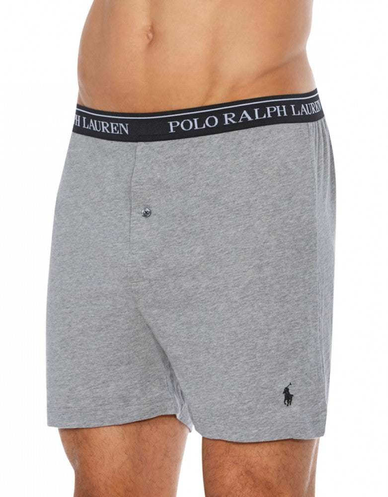 Black/Grey/Charcoal Front Polo Ralph Lauren 3-Pack Classic Cotton Knit Boxer Shorts